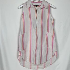 NWT For Cynthia white sleeveless tunic top Small